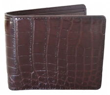 100% BELLY GENUINE CROCODILE LEATHER MEN'S BIFOLD WALLET SHINY BROWN NEW