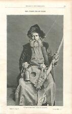 Juif d'Algérie Filant la Laine avec une Quenouille Tisserand Métier GRAVURE 1888