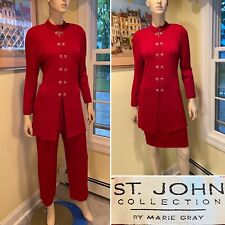 ST JOHN Size 6 8/Medium 3-Piece Set Red Santana Stretch Knit PANT/SKIRT SUIT