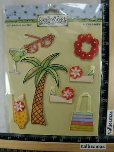 Sue Dreamer TROPICAL Stickers PALM TREE LEI DRINKS LOUNGER BEACH VACATION