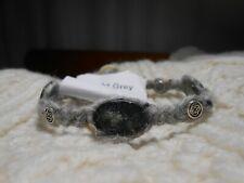 Celtic Irish Light Grey Donegal Aran Tweed & Connemara Marble Bracelet