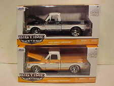 2 Pack 1972 Chevy Cheyenne Truck Diecast 1:24 Jada Toys 8 inch Black Orange Rims