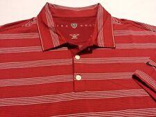 Nike Golf Dri-Fit Mens XL Short Sleeve Red Striped Athletic Polo Golf Shirt