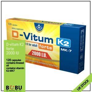 D-VITUM Vitamin D3 FORTE 2000 IU K2 MK-7 120 capsules ORIGINAL OLEOFARM