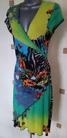 JOSEPH RIBKOFF DRESS 8 36 SMALL S COLOURFUL FLORAL ANIMAL MOCK WRAP BOHO QUIRKY