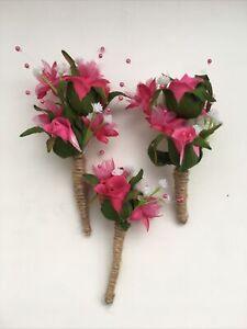 Wedding Flowers 3 Rustic Flower Sprays Decoration Pink Rose & Gypsophila