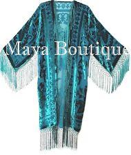 Kimono Burnout Velvet Silk Fringe Jacket Teal Turquoise Maya Matazaro