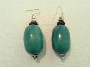 Wooden turquoise earrings