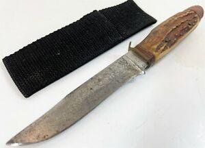 """Vintage Soligen Germany Etched 4"""" Fixed Blade Stag Deer Antler Handle Boot Knife"""