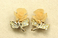 Cream Resin ROSE Flower & Leaf Clear Rhinestone Gold-Plated Clip-On EARRINGS