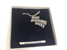 """Man Behaving Badly  Emblem on Silver Platinum Plated Necklace 18"""" refa86"""