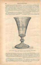 Calice Verre des Huits-Prêtres Musée Archéologique Douai GRAVURE OLD PRINT 1877