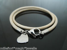 """3mm Pearl White Leather Double Wrap 7.5"""" Bracelet ~ Stainless Steel Heart Charm"""