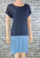 Women's Blue 2-Tone Short Sleeved Tunic Smock T-shirt Dress Size 10 - 12 - Eu 38