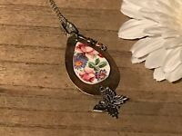 Recycled Flatware Jewelry, Flatware Collection, Flatware w/ Multi Floral Pendant