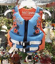 Jobe Life Jacket Preserver Child 30-50 Lbs Blue Orange Flowers