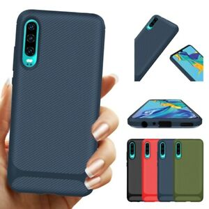 For Huawei P30 Pro Shockproof Slim Protective Carbon Fiber Bumper TPU Case Cover