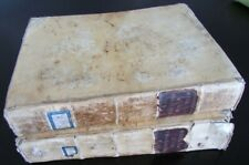 1730 Biblia in Latin Vellum Bound 2 Volumes Printed In Venice Antique Holy Bible