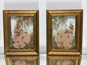 Pr. of Antique Framed hand Painted Ladies On Glass Painting Glass Art