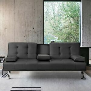 Vineego Modern Sofa Bed Faux Leather Couch Convertible Futon with Two Cupholders