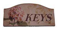 Key Rack Shabby Chic Vintage Hydrangea Key Hooks  Key Rack Vintage Style 5 Hooks