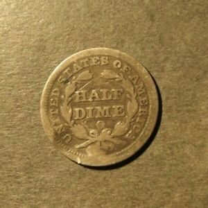 UNITED STATES SILVER HALF DIME DATED 1856 WEIGHS 1.15 GRAMS SOME WEAR