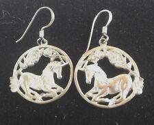Sterling Long Round Horse pierced Dangle Earrings