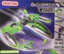 ERECTOR SPACE CHAOS SILVER FORCE #5101, 2 MODELS LIGHT EFFECTS 110+ parts