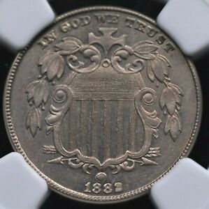 1882 SHIELD NICKEL NGC MS 62 LOOKS BETTER WITH GREAT STRIKE, COLOR, AND KINDA PL