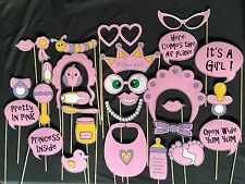 29 Piece Girl / Gender Reveal Baby Shower Photo Booth Prop Set - Aust Made