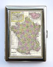 France Map Cigarette Case Wallet Business Card Holder id case