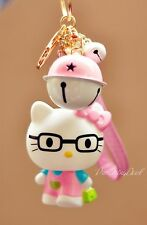 Cute Pink Hello Kitty Character Bear Key Chain (key ring) c/w Small Bell Pendant