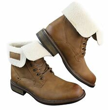 Mens Tan Brown Military Ankle Leather Fleece Fur Lined Casual Army Combat Boots
