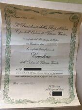 onorificenza di cavaliere dell'ordine di vittorio veneto 1971 + comunicazione