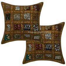 Ethnic Cotton Geometric 40x40 Patchwork Embroidered Sequins Throw Pillow Covers
