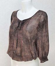 DOROTHY PERKINS sheer chiffon brown black print Elasticated waist cuff blouse 8