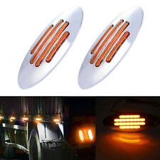 2x Amber Thin Side Marker Lights Clearance 24 LED Chrome For Freightliner 12V