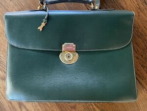 GOLD PFEIL NOS handmade vintage leather briefcase emerald green