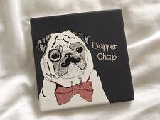 Dapper Chap Cute Pug Dog Monocle Moustache Hipster Drinks Mug Coaster Funny Gift