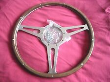 "MOTO-LITA 15"" MK3  FLAT WOOD RIM WIDE SLOT STEERING WHEEL JAGUAR XJ6/ A.H/ MGB"