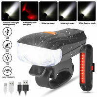 LED Bike Light Bicycle Headlight Taillight USB Rechargeable Front Rear Lamp Set