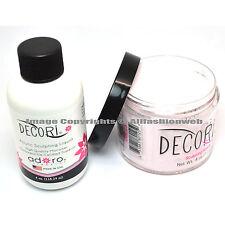 Adoro DECORI 4oz LIQUID MONOMER + 4oz PINK ROSA SCULPTING POWDER SET NAIL ART