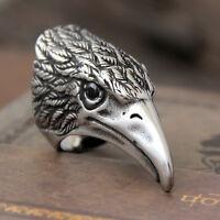 Huge Vintage Stainless Steel Hawk Eagle Ring Black CZ Eyes Men Rock Biker Silver