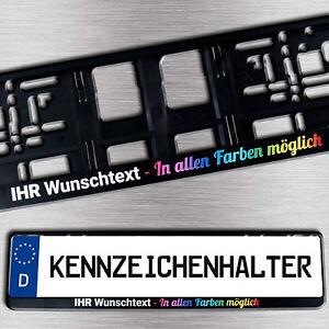 1 schwarzer KENNZEICHENHALTER mit Wunschtext/Logo/Werbung vierfarbig BEDRUCKT