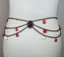 Vintage Womens Patriotic Usa Chain Fashion Belt Boho Hippie Hipster 4th of July
