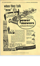 1952 PAPER AD Homko Power Mower Lawn Sweeper Reel Rotary Western Tool Stamping
