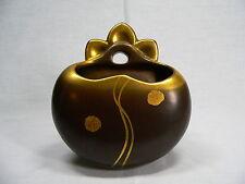 Ältere Wandvase / Vase in Brau / Gold Keramik