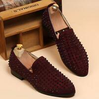 New Fashion Mens slip on loafer punk suede leather studded casual dress shoes