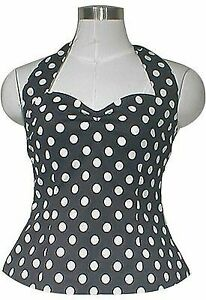 BLACK WHITE POLKA DOT HALTER TOP RETRO VINTAGE 50s 60s ROCKABILLY STYLE PINUP