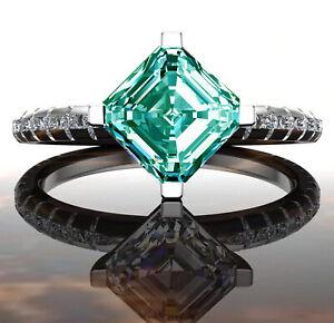 3.27 Ct VS1>Asscher Sky Blue White Moissanite Diamond Ring .925 Silver Ring